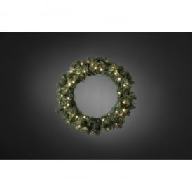 Artificial Spruce Wreath with 60 Warm White LED's and Dawn to Dusk Feature