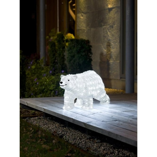 Konstsmide Christmas Acrylic Outdoor Polar Bear With 200 White Led S Decorations From Lights At Christmas Uk