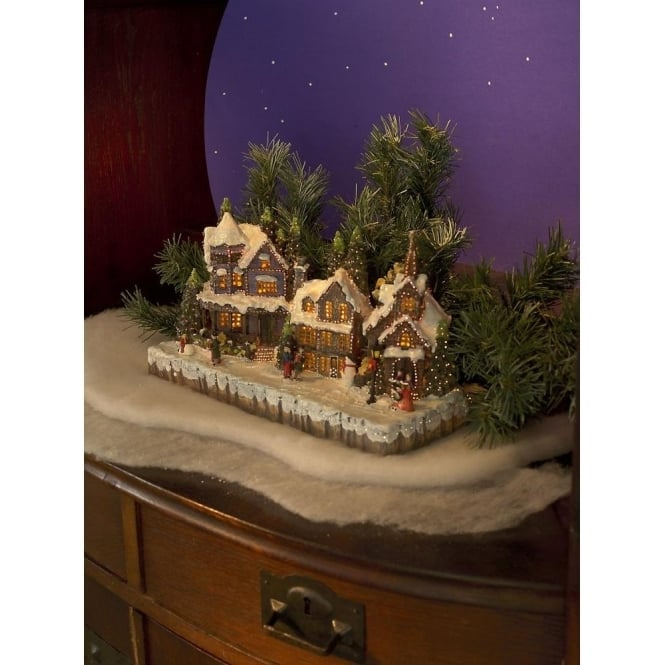 Festive Fibre Optic Village Scene With Snow