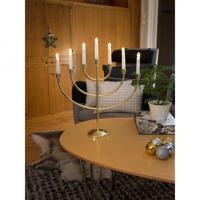 Konstsmide Large 7 Light Candlestick Light in Brass Finish