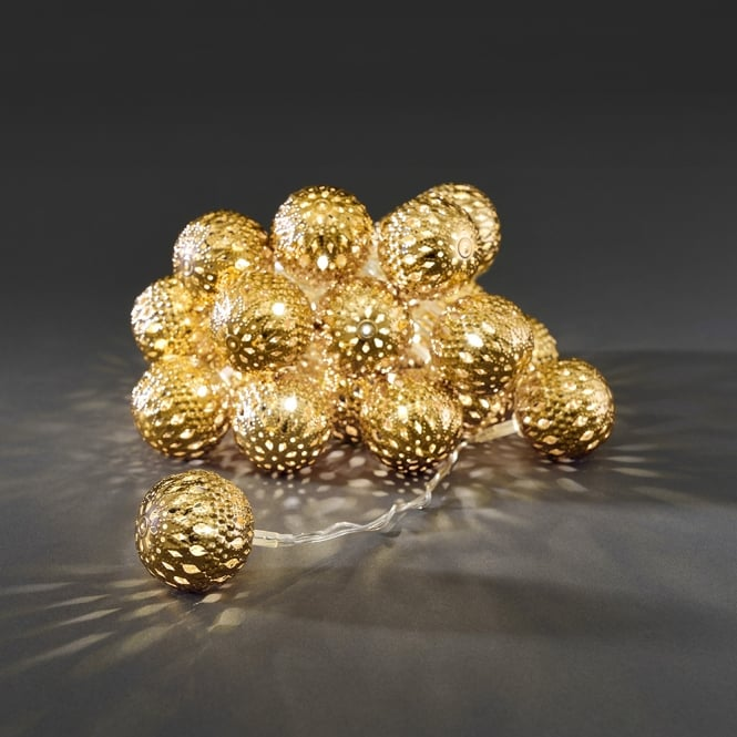 Konstsmide Konstsmide Light Set with 24 Gold Metal Balls with Warm White LED's