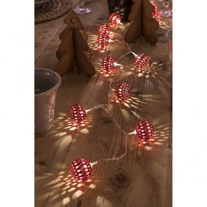 Konstsmide Konstsmide Light Set with 24 Red Metal Balls with Warm White LED's