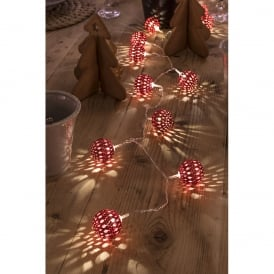 Konstsmide Light Set with 24 Red Metal Balls with Warm White LED's