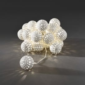 Konstsmide Light Set with 24 White Metal Balls with Warm White LED's