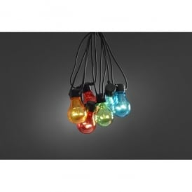 Set of 20 Static LED Multi Coloured Festoon Lights with Black Cable