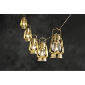 Set of 8 Gold Coloured Lantern with Warm White LED's