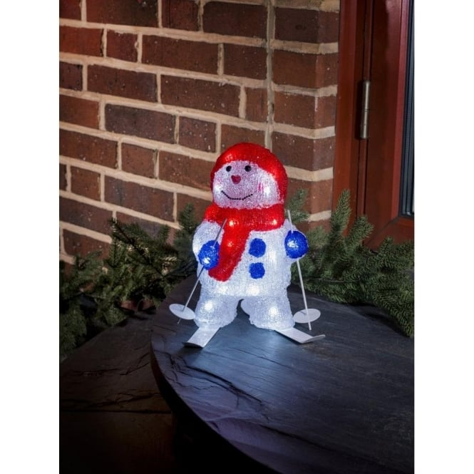 Konstsmide Skiing Snowman Outdoor Acrylic Figure with White LED