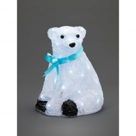 Small Sitting Baby Polar Bear With Blue Ribbon And White LED's