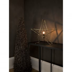 Star Table Lamp in Brass Finish With Black Cable