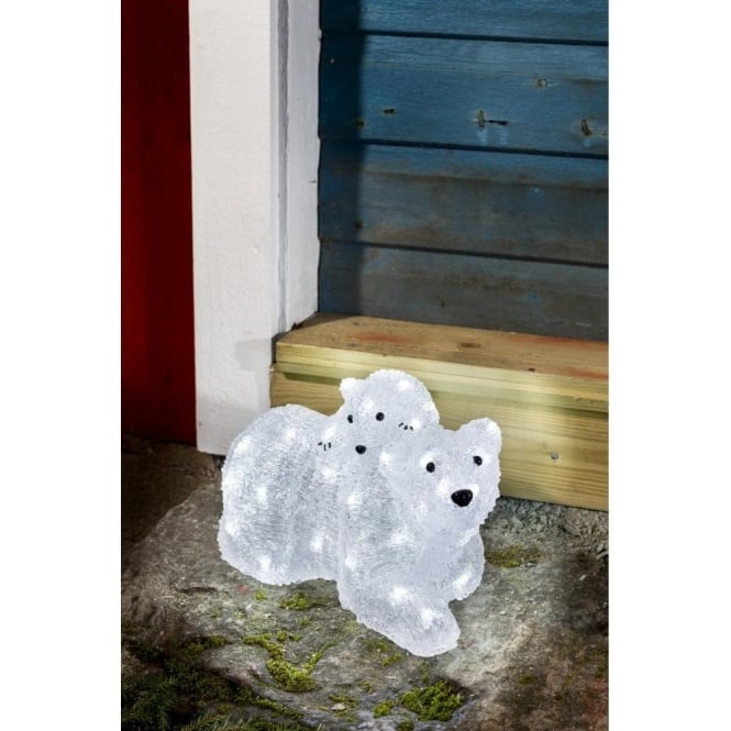 Konstsmide White Acrylic Polar Bear Family With 48 LED's