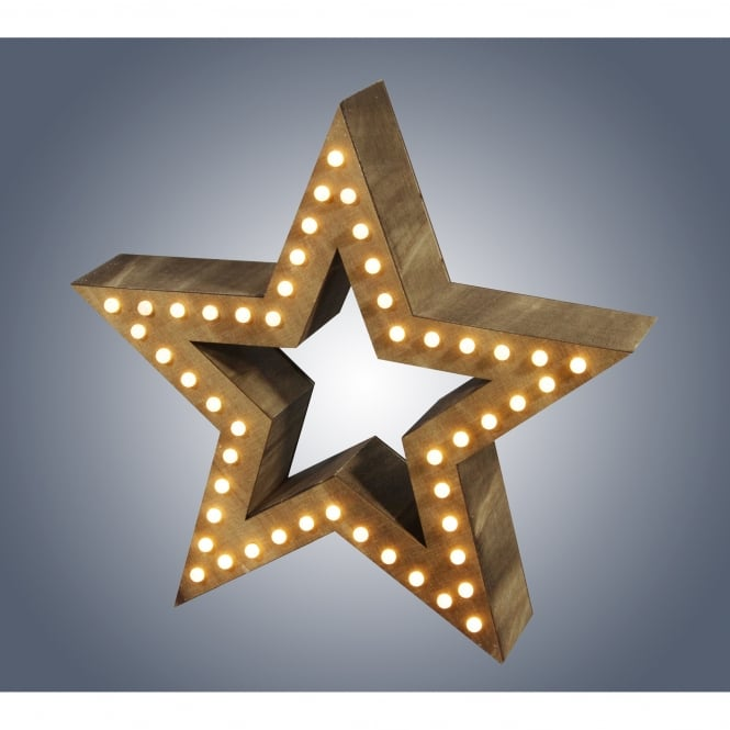 Dar Lighting Large LED Wooden Star with Warm White LED's