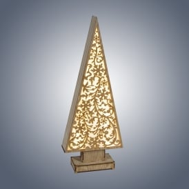 Dar Lighting Large LED Wooden Tree with Snowflakes Design