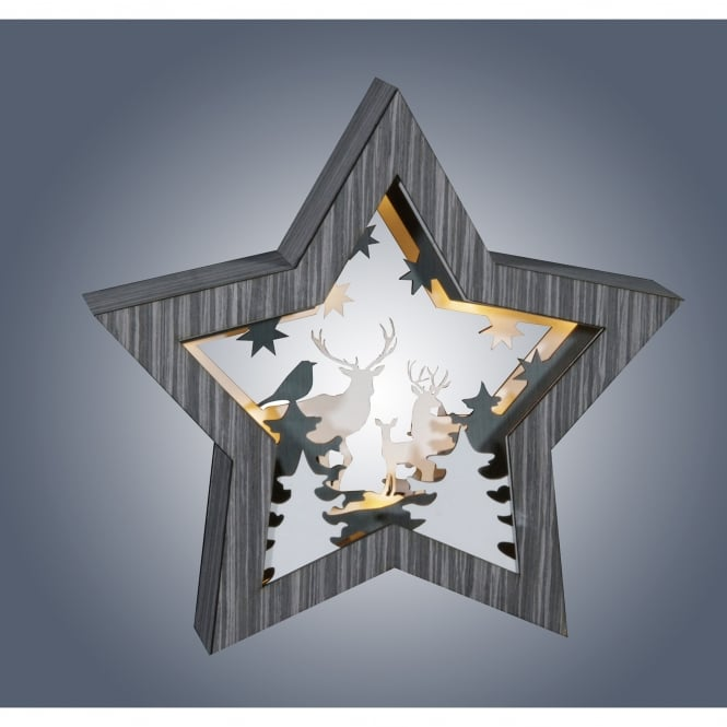 Dar Lighting LED Grey Wooden Star with Stag Diorama