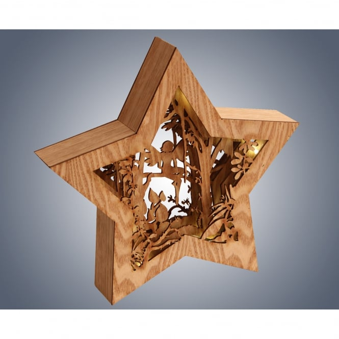 Dar Lighting LED Wooden Star with Fairy Diorama
