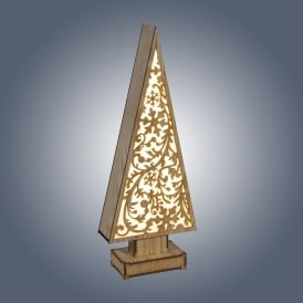Dar Lighting LED Wooden Tree with Snowflakes Design