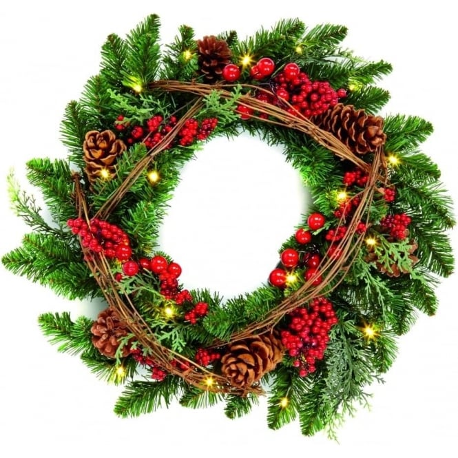 Premier Decorations Premier 45cm Battery Operated Natural Wreath with 20 LED's and Timer Function