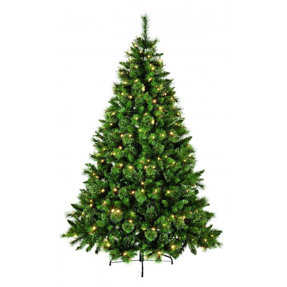 uk availability 3fe29 82028 Premier Decorations 1.8M Pre-Lit Ridgemere Pine Artificial Christmas Tree  With 190 Multi-Action Warm White LED's