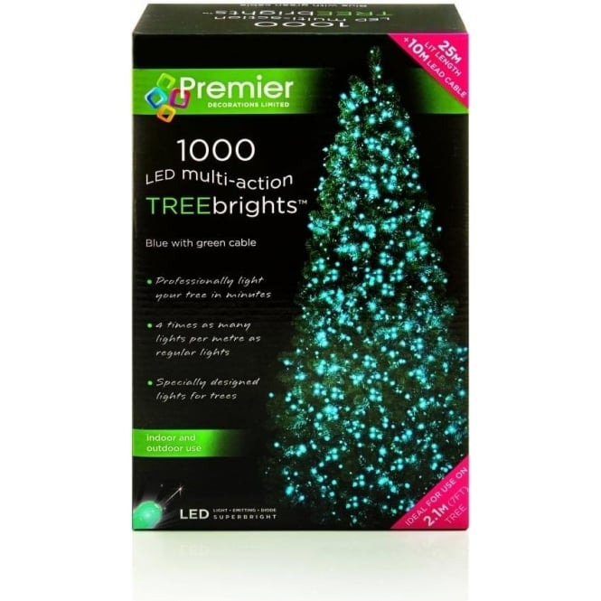 Premier Decorations Premier Decorations 1000 Blue LED Treebrights with Multi-Action Facility