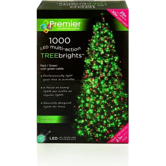 Premier Decorations Premier Decorations 1000 Red and Green LED Treebrights with Multi-Action Facility