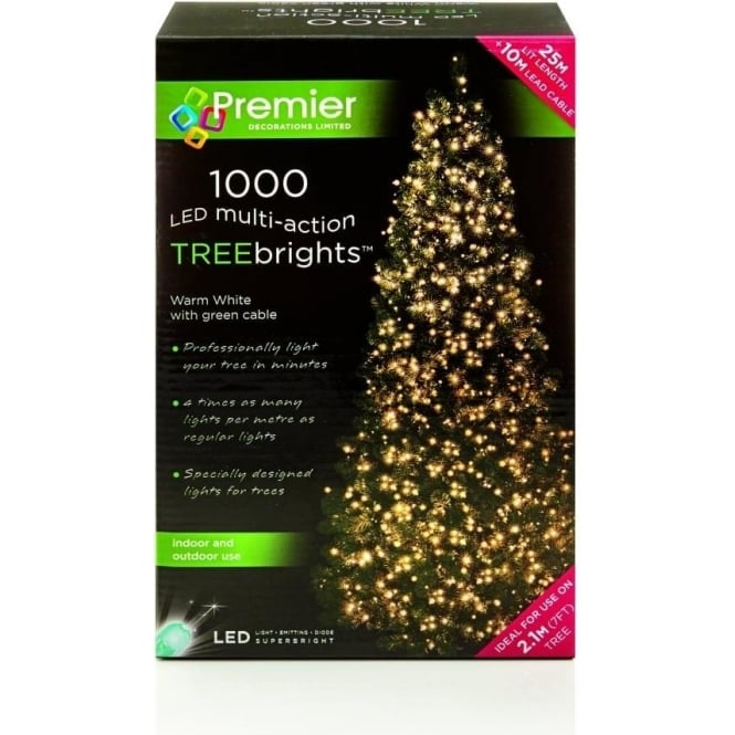Premier Decorations Premier Decorations 1000 Warm White LED Treebrights with Multi-Action Facility