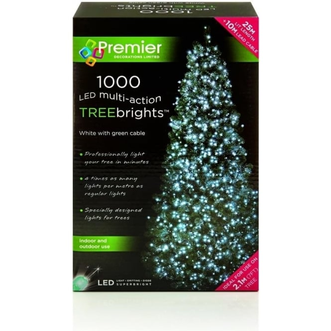 Premier Decorations Premier Decorations 1000 White LED Treebrights with Multi-Action Facility
