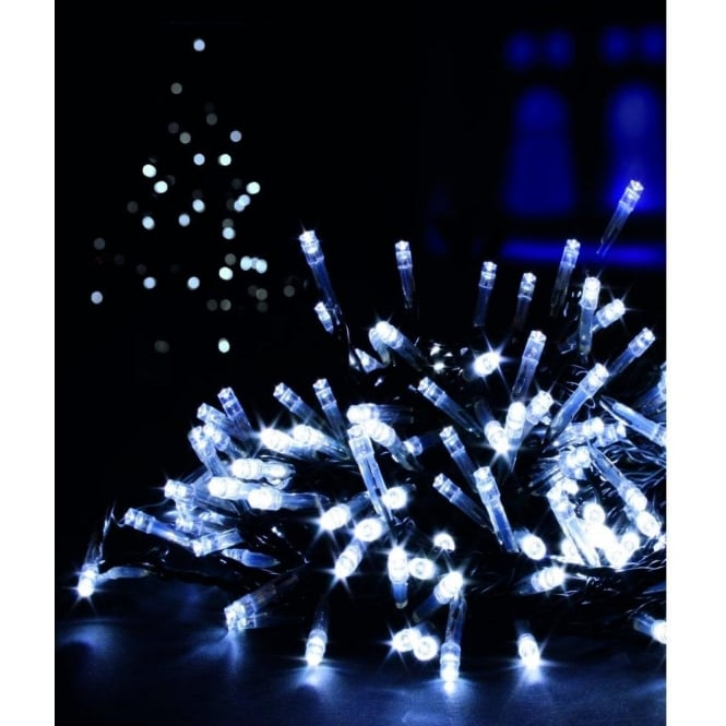 Premier Decorations 200 White LED Battery Operated Multi Action Lights With Timer