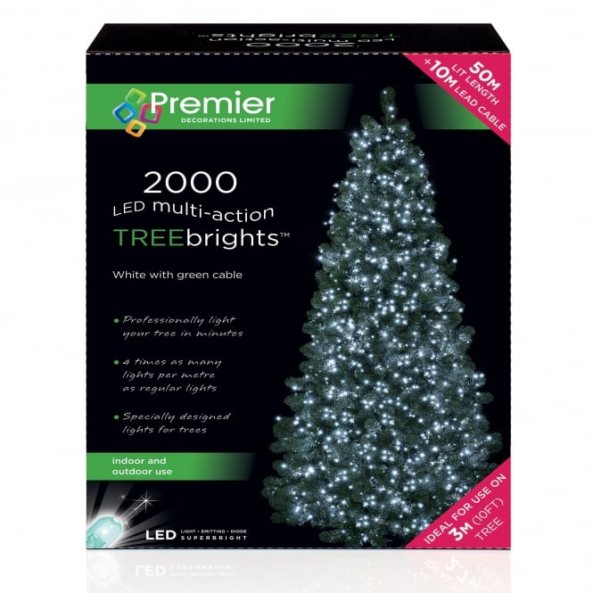Premier Decorations 2000 White LED Treebrights with Multi Action Facility
