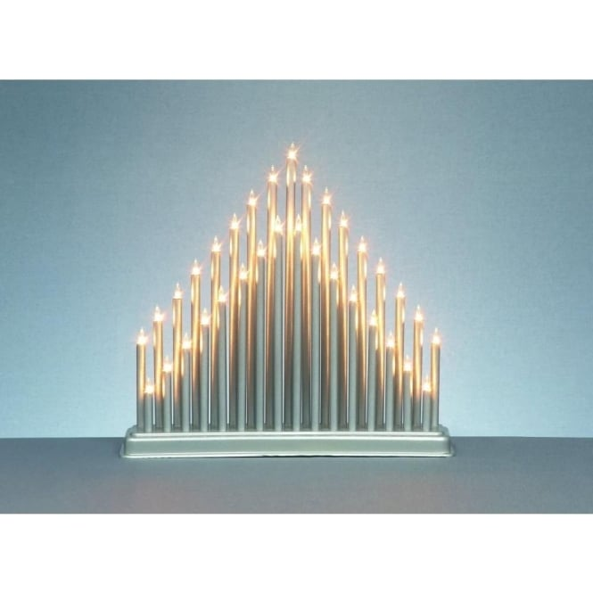 Premier Decorations 33 Light Mains Operated Modern Candlebridge in Silver Finish