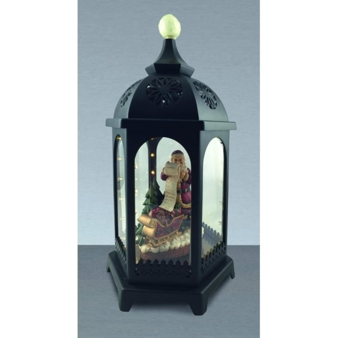 Premier Decorations 38cm Battery Operated LED Musical Santa Lantern In Black