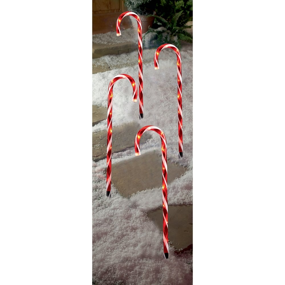 Premier Decorations 4 Piece Red Candy Cane Path Lights With Leds