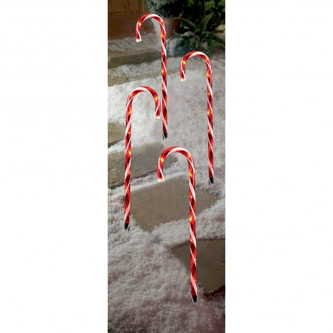 Premier Decorations 4 Piece Red Candy Cane Path Lights with LED's
