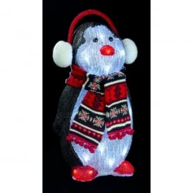 Premier Decorations 50cm 24 White LED's Illuminated Penguin in Black, White and Red