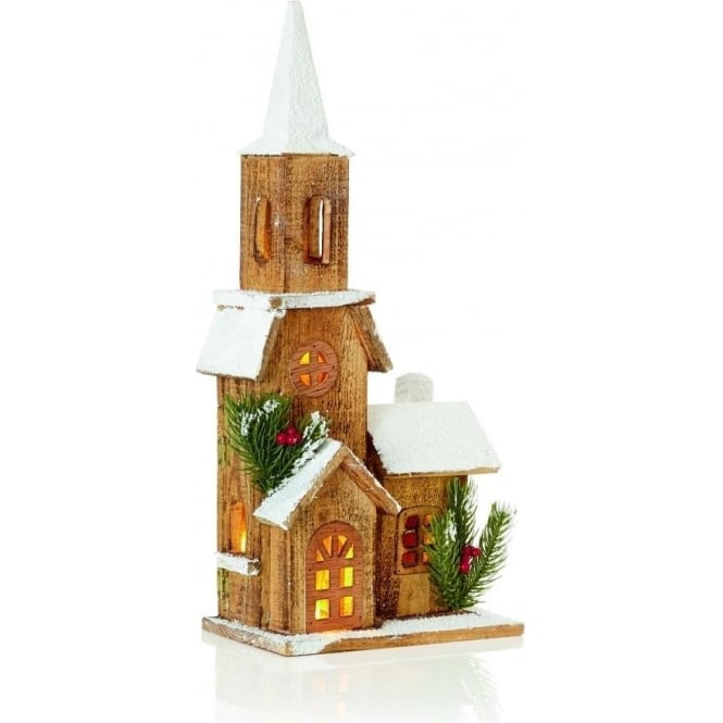 Premier Decorations 50cm Battery Operated LED Illuminated Nordic Wooden Church with Steeple