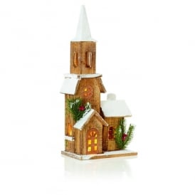 50cm Battery Operated LED Illuminated Nordic Wooden Church with Steeple