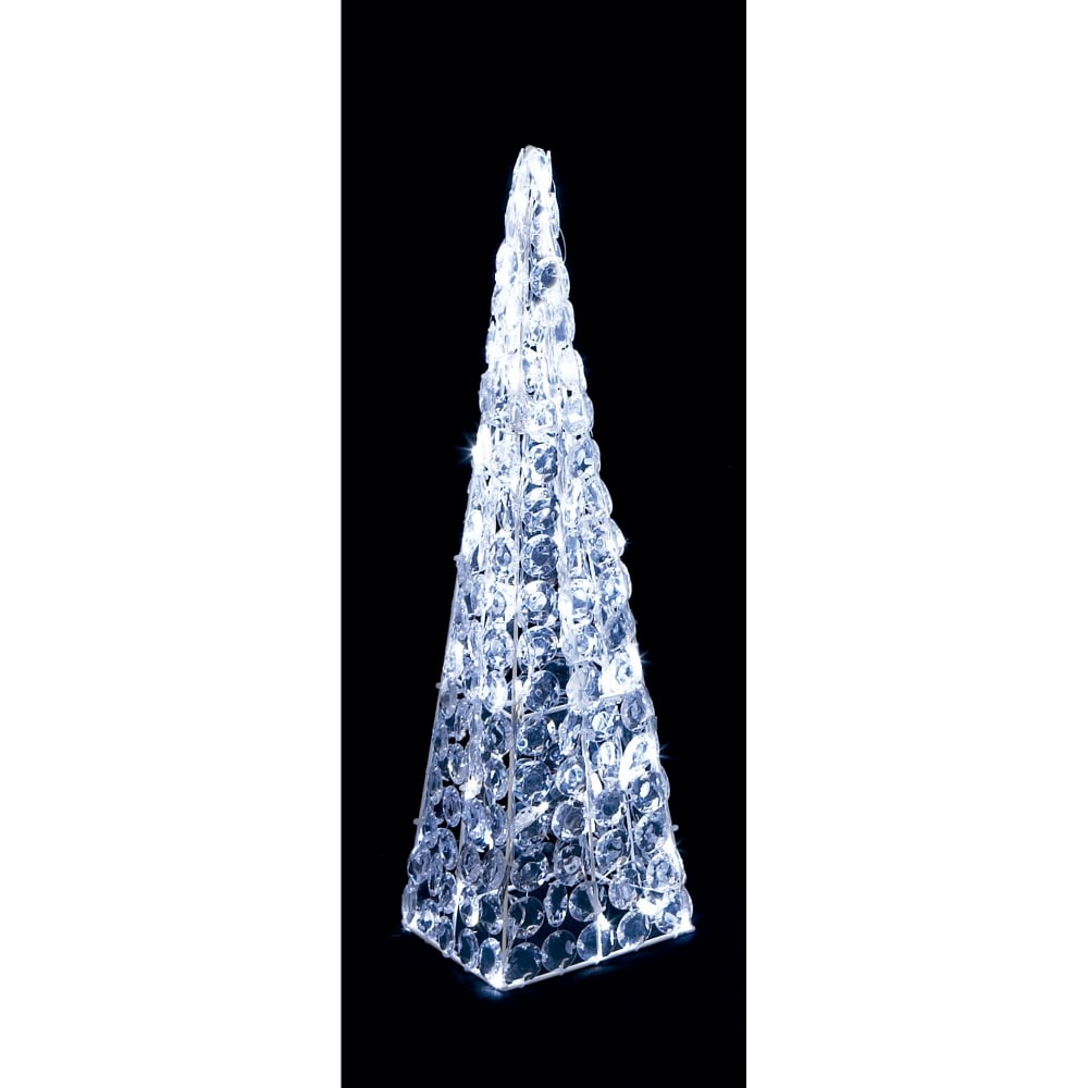 Premier Decorations 60cm Acrylic Twinkling Pyramid With White Leds Led Christmas Star