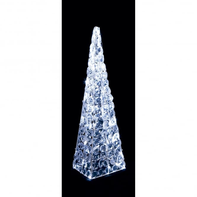Premier Decorations 60cm Acrylic Twinkling Pyramid with White LED's