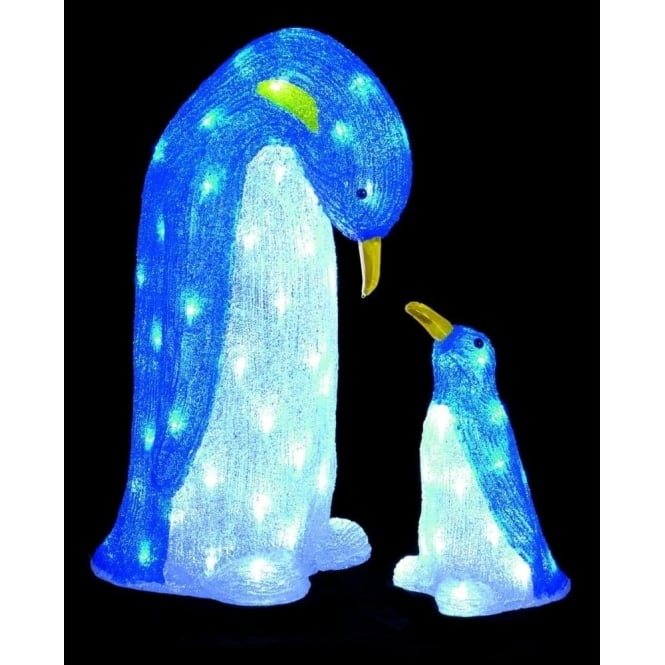 Premier Decorations Premier Decorations 60cm and 30cm Pair Acrylic Penguins in Blue and White with 88 White LED's