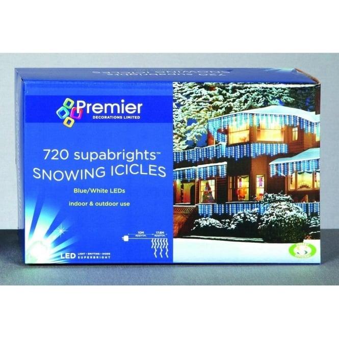 more photos 32399 414f6 Premier Decorations Blue & White 720 Snowing Icicle LED Light Set
