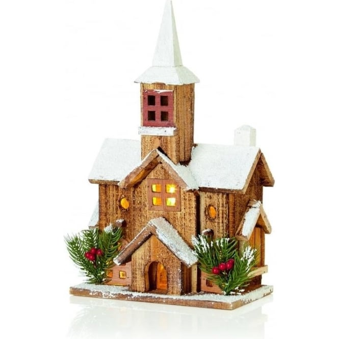Premier Decorations Premier Decorations Battery Operated 5 LED Illuminated Nordic Wooden Church with Steeple