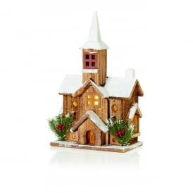 Premier Decorations Battery Operated 5 LED Illuminated Nordic Wooden Church with Steeple