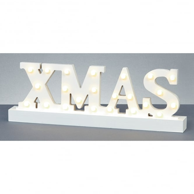 Premier Decorations Battery Operated Illuminated XMAS Sign with Warm White LED's
