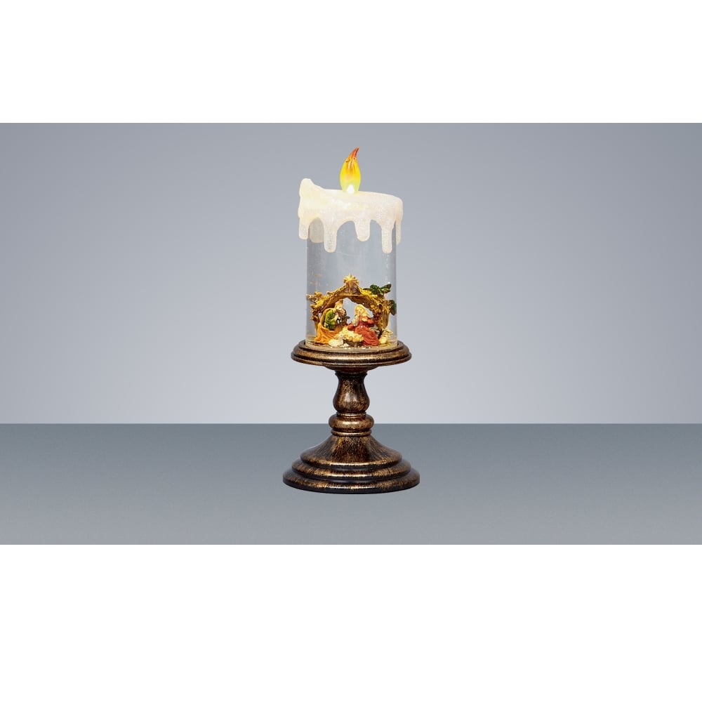 Premier Decorations Battery Operated Nativity Water Glitter Candle With Yellow Led Indoor From Lights At Christmas Uk