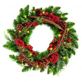 Premier 45cm Battery Operated Natural Wreath with 20 LED's and Timer Function
