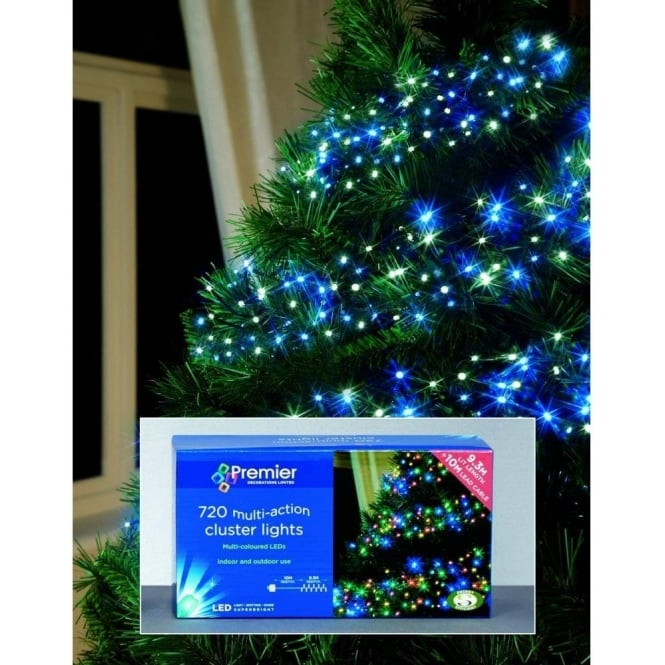 Premier Decorations Set Of 720 LED Blue And White Cluster Lights With Multi Action Facility