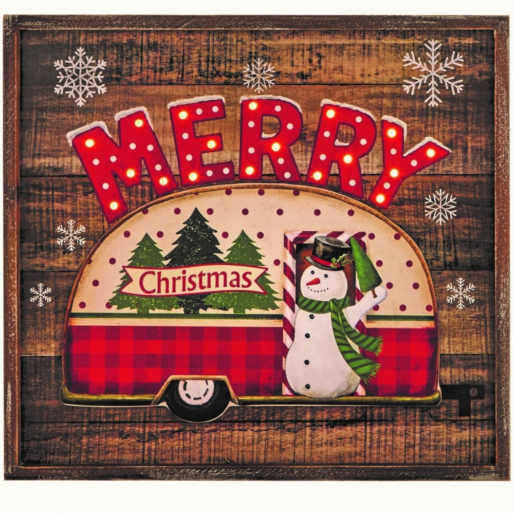 snowman caravan light up wooden plaque