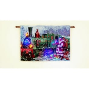 Premier Decorations LED Illuminated Santa Express Tapestry
