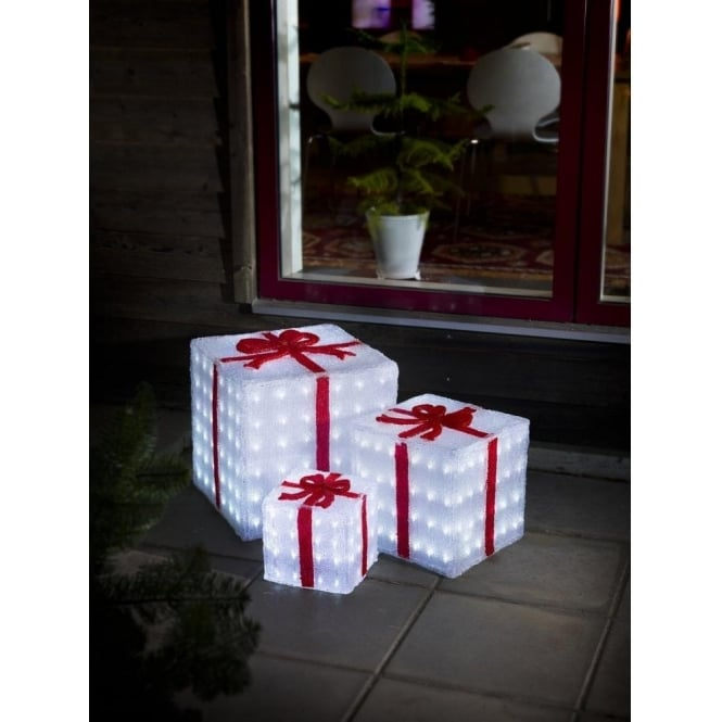 Frosted Light Bulbs >> Konstsmide Set of 3 Acrylic Parcels with 304 White LED's - Decorations from Lights at Christmas UK