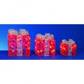 Set of 3 Red Parcels With Silver Bow Detail And 40 Fairy Lights