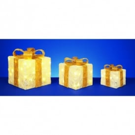 Set Of 3 LED Cream Parcels With Gold Bow Detail