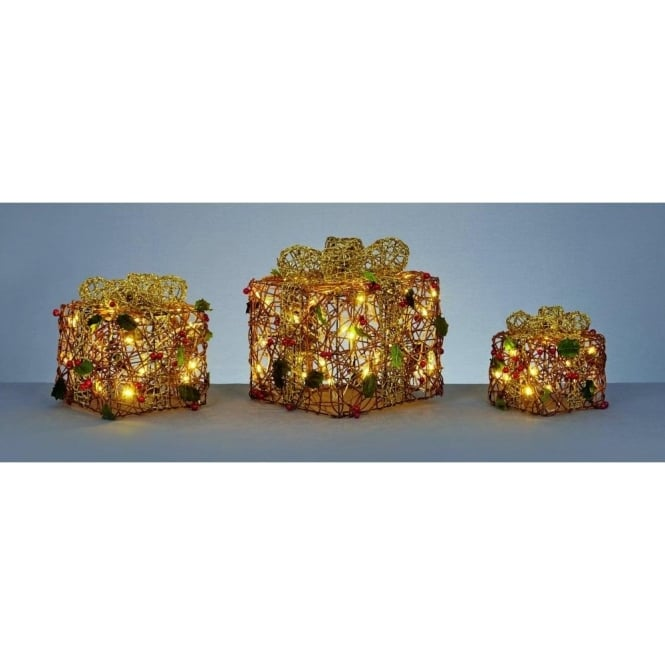 Premier Decorations Set Of 3 Parcels With Berries, Gold Bow Detail And Warm White LED's